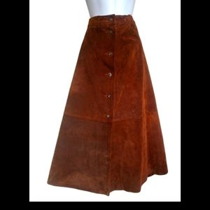 Vintage cured leather high waisted skirt